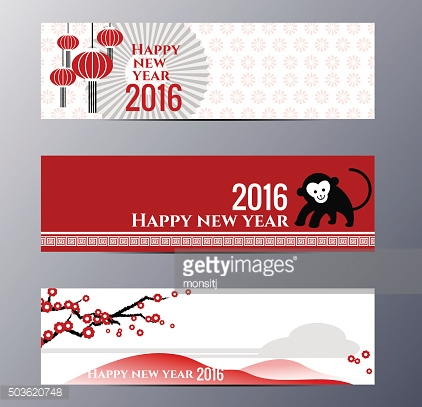 Banners Set with  Chinese New Year Monkeys Vector illustration