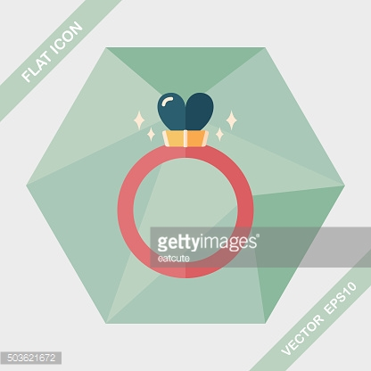 Valentine's Day heart diamond ring flat icon with long shadow