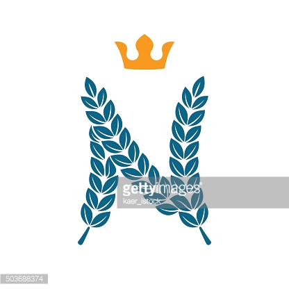 N letter icon formed by laurel wreath with crown
