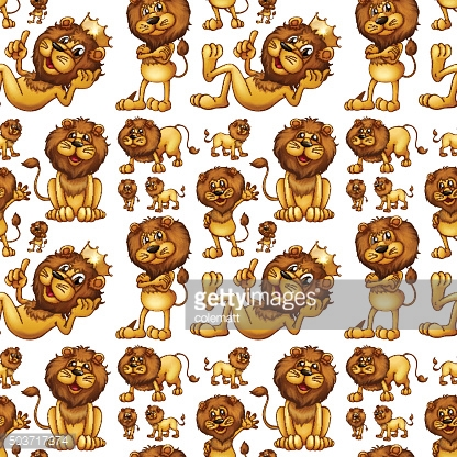 Seamless wild lion with different posts