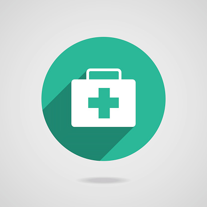 Medical white icon. Green button on gray background