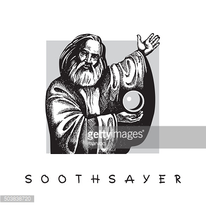 Old man with a beard and Crystal ball. Soothsayer.