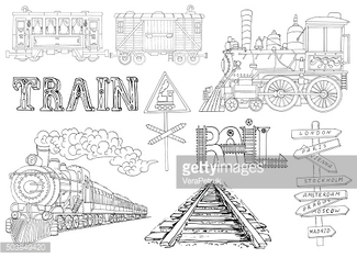 Vintage set with train old locomotives, wagons and cars