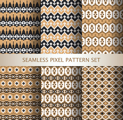 Collection of pixel seamless patterns with stylized Greenland national ornament
