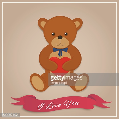 Valentines day card with teddy bear. Vector illustration