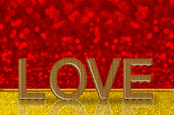 Love word on red bokeh background for valentine's day