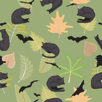 Seamless pattern with black cats,bats,and leaves