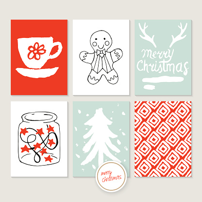Christmas holiday hand sketched greeting card set with brush