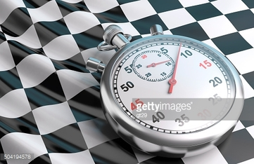 Checkered flag and stopwatch.