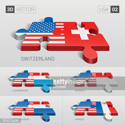 European Union Flag. 3d vector puzzle. Set 02.