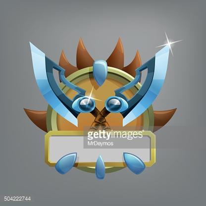 Coat of arms icon for game interface. Vector illustration.