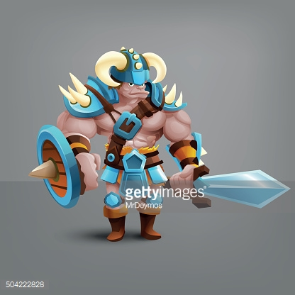 Warrior barbarian. Vector illustration.