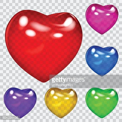 Transparent glossy hearts in various colors