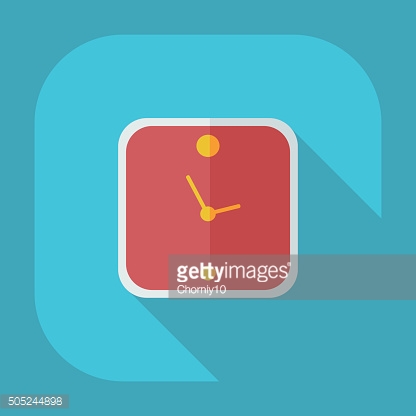 Flat modern design with shadow icons clock