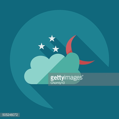 Flat modern design with shadow icons cloud moon stars