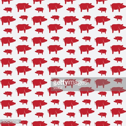 Pig vector art background design for fabric and decor.