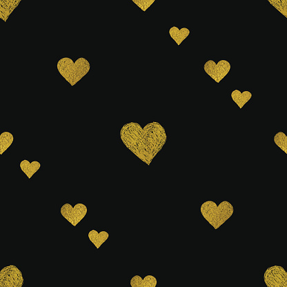 Gold  hearts on black background. Seamless pattern