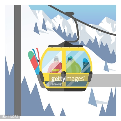 Snowboarder sitting in ski gondola and lift elevators. Winter sport