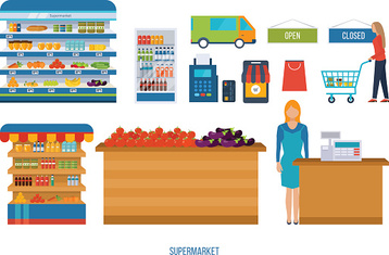 Supermarket store concept with food assortment, payment options and delivery