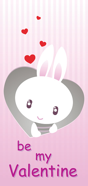 card for Valentine's Day with the bunny