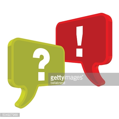 Speech bubbles in Perspektive green red on a white background.