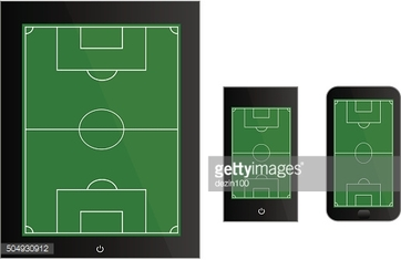 Mobile Devices with Football Field Black