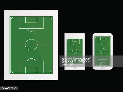 Mobile Devices with Football Field White