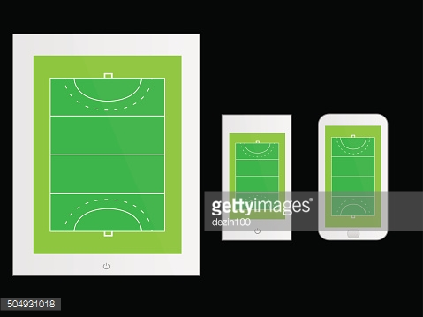 Mobile Devices with Hockey Field White