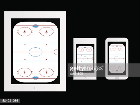 Mobile Devices with Hockey Rink White