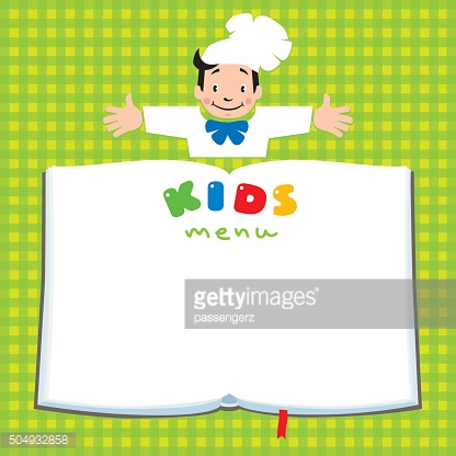 Design template for Kids Menu with funny cook boy