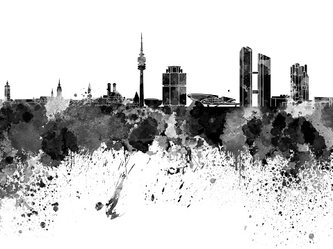 Munich skyline in black watercolor on white background