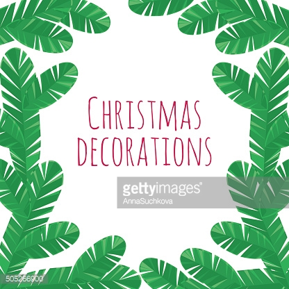 Christmas tree branches decorative frame