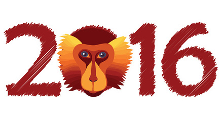 Vector fire monkey, symbol of New Year 2016