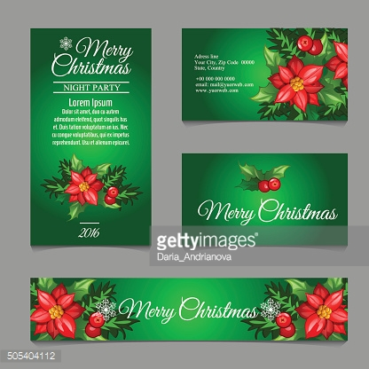 Four green postcard with holly berry