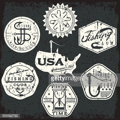 collection of vintage grunge labels on fishing theme