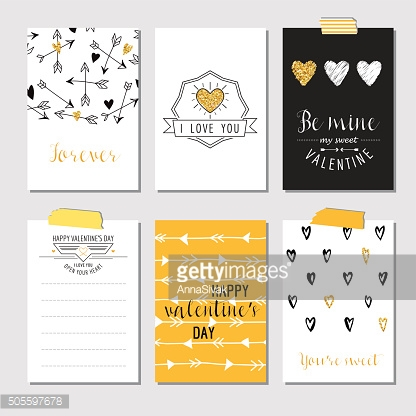 Set of Love Cards with Gold Glitter - Valentine's Day