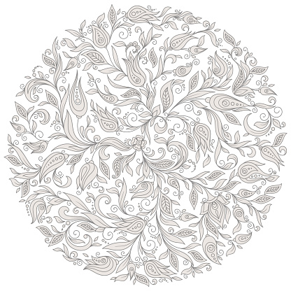 Vector Floral Background. Hand Drawn Ornament with Floral Wreath