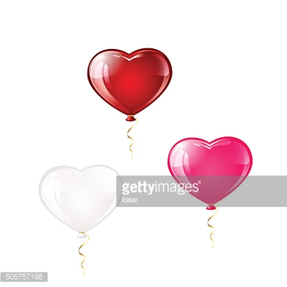 Three balloons in the form of hearts