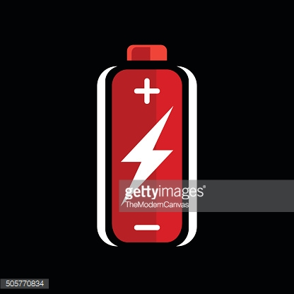 Red battery charge icon. battery charge sign. battery charge symbol.