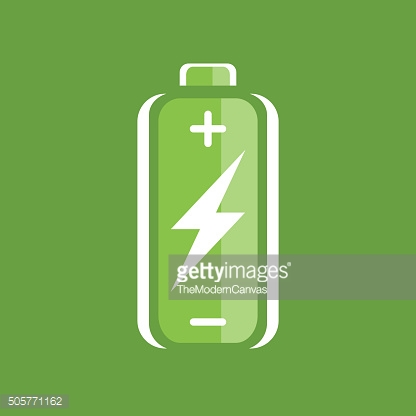 Green battery charge icon. battery charge sign. battery charge symbol.