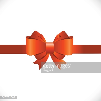 Gift Card with Orange Bow and Ribbon Vector Illustration
