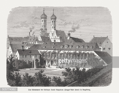 Fugger House in Nuremberg, Germany, wood engraving, published in 1873