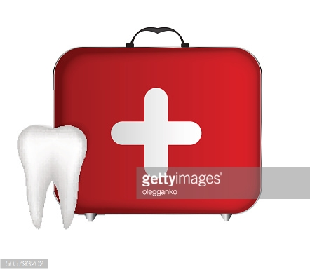 Tooth and Red Medical Bag with a Cross