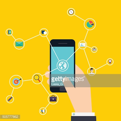 Internet of Things concept. Business icons. Hand holding a smart