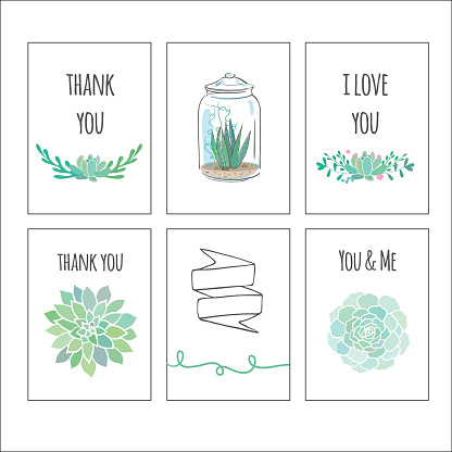 vector cards with succulents