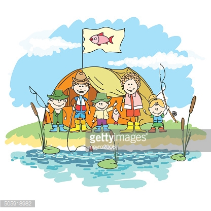 Happy family weekend doodle vector. Family week-end with fishing