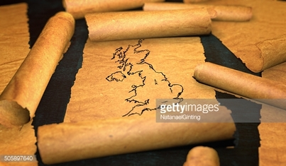 Britain UK Map Drawing Unfolding Old Paper Scroll 3D