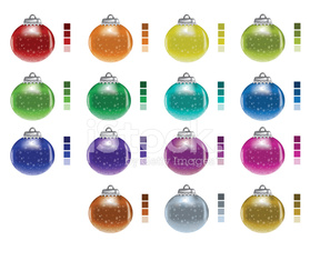 Xmas Baubles with colour swatches
