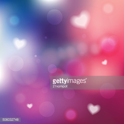 Vector Defocused background. Bokeh with lights and hearts
