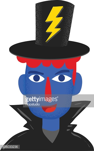 Blue face of magician